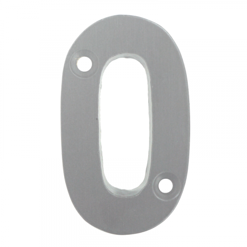 "2"" Number 0 Silver Anodised Door Number - UAP Font"