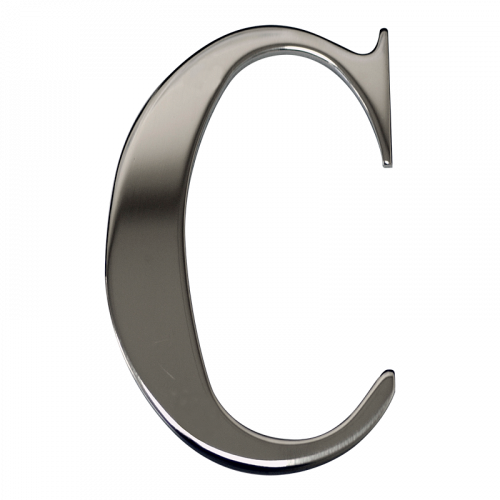"3"" Nanocoast Letter C Mirror Polished Self Adhesive Door Letter - Times Roman Font"