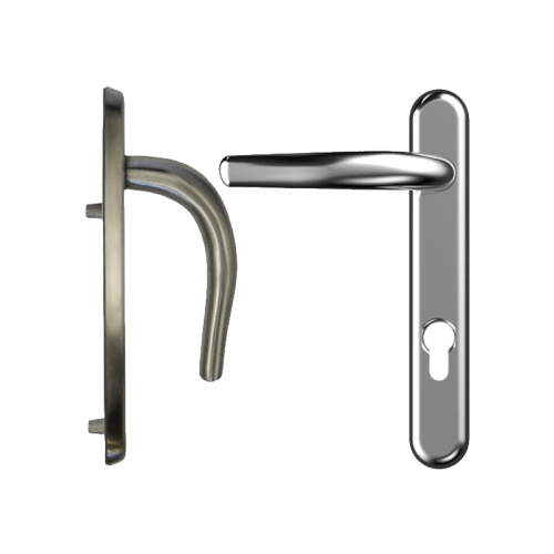 Nanocoast Door Handle 219mm Backplate - 92mm Centres - Satin Stainless Steel