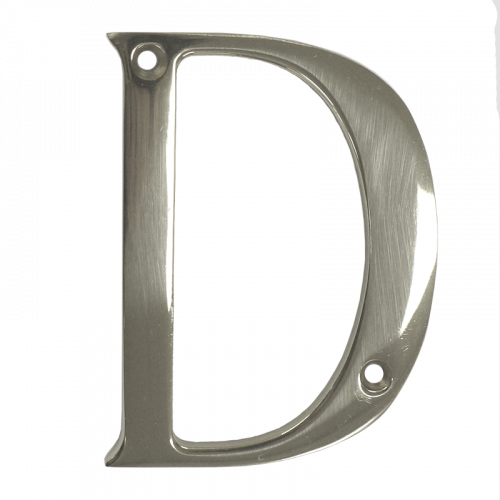 """3"""" Nanocoast Letter D Mirror Polished Thin Screw Fix Door Letter"""