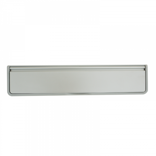 """Doormaster Letterplate 12"""" 40/80 SILVER Plastic Frame with Silver Anodised Flap"""