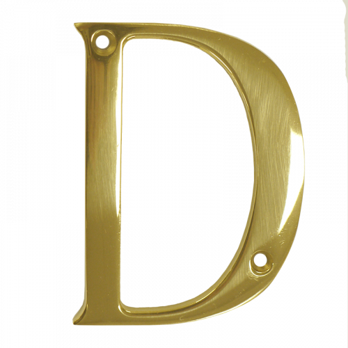 """3"""" Nanocoast Letter D PVD Gold Thin Screw Fix Door Number"""