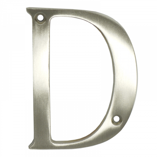 "3"" Nanocoast Letter D Satin Stainless Thin Screw Fix Door Letter"