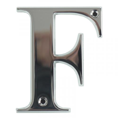 "3"" Letter F Polished Chrome Screw Fix Door Number - Zamak material"