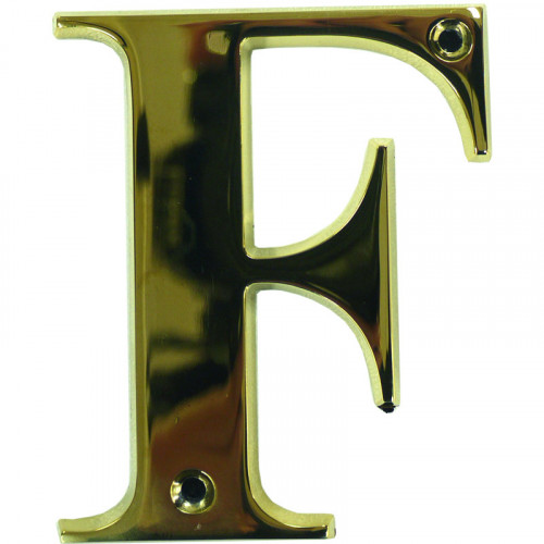 "3"" Letter F PVD Gold Screw Fix Door Number - Zamak material"