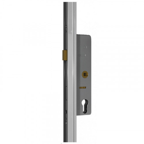 Powder Coated White Universal Gemini Double Door Lock Kit - Left Hand Open Out