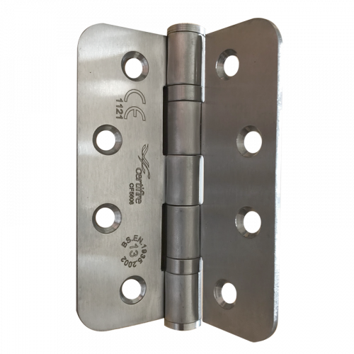Pair of CERTIFIRE Fire Door Grade 13 Hinge Ball Bearing SS201 Radius (2 hinges per pack) - 102 x 76 x 3mm Satin Stainless