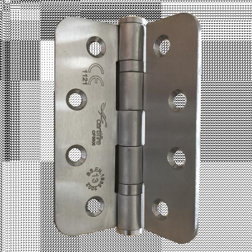 Pair of CERTIFIRE Fire Door Grade 13 Hinge Ball Bearing SS201 Radius (2 hinges per pack) - 102 x 76 x 3mm Satin Stainless