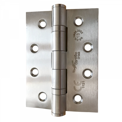 Pair of CERTIFIRE Fire Door Grade 13 Hinge Ball Bearing SS201 Square (2 hinges per pack) - 102 x 76 x 3mm Satin Stainless
