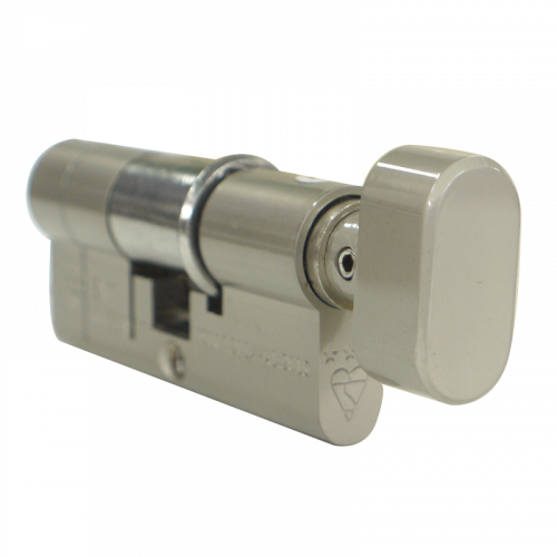 80mm 30-10-40T (35/45) Satin Nickel 3* Kitemarked Euro Cylinder (Exterior = 30mm Side) TT on 40mm side