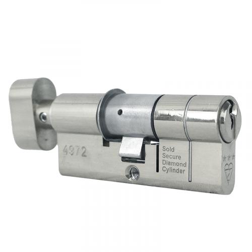 95mm 40-10-45 (45/50) Thumbturn Polished Chrome 3* Kitemarked Euro Cylinder (Exterior = 40mm Side) Helix System
