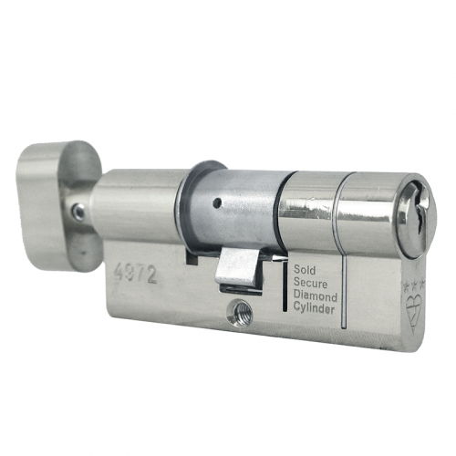 95mm 45-10-40 (50/45T) Polished Chrome 3* Kitemarked Thumb Turn Euro Cylinder (Thumb Turn = 45mm Side)