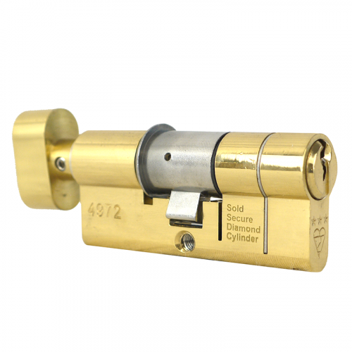 100mm 50-10-40T (55/45T) Polished Brass 3* Kitemarked Thumb Turn Euro Cylinders (Thumb Turn = 40mm Side)