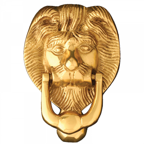 """4"""" Small Lions Head in Polished Brass"""