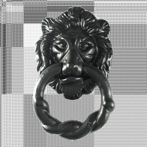 2 Piece Black Iron Lions Head