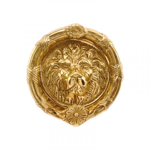 "6"" Diameter (164mm) Round Lions Head Round in Polished Brass"