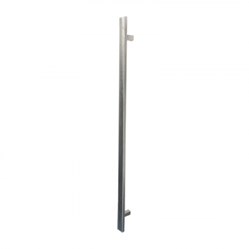 Pull Handle - 1200mm SQUARE SHAPE Straight 1000mm centres including 2 fixings with bolts - Satin Stainless Steel 316 - 38mm Diameter