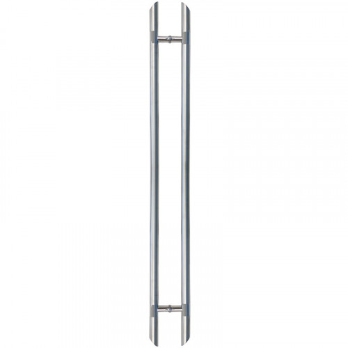 Pull Handle - 1500mm Straight AURA Design including 2 fixings with bolts - Satin Stainless Steel 316 - 38mm Diameter