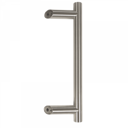 Pull Handle - 600mm OFFSET  400mm centres including 2 fixings with bolts - Satin Stainless Steel 316 - all fittings inc Back to Back