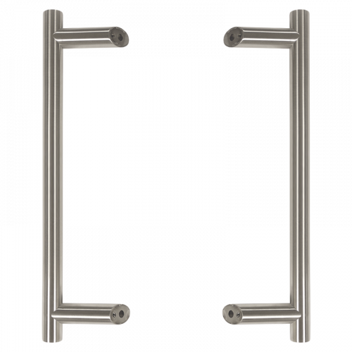 Pull Handle - 900mm Offset including fixings with bolts - Satin Stainless Steel 316
