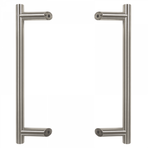 Pull Handle - 900mm Offset including 2 fixings with bolts - Satin Stainless Steel 316