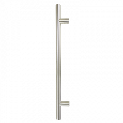 Pull Handle - 900mm Straight including 2 fixings with bolts - Satin Stainless Steel 316 - 32mm Diameter