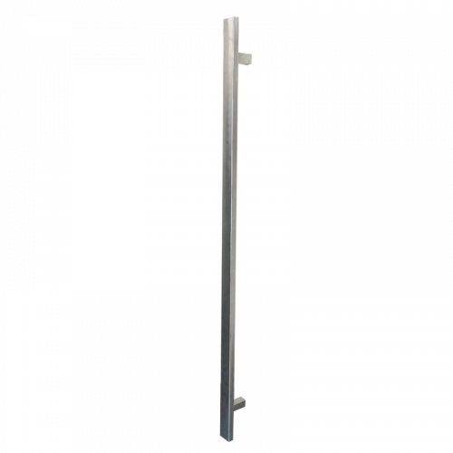 Pull Handle - 900mm SQUARE SHAPE Straight including 2 fixings with bolts - Satin Stainless Steel 316 - 38mm Diameter