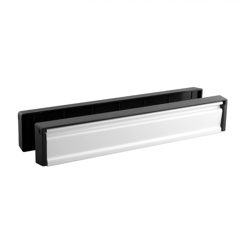 Slim-line Letterplate - White Flap Black Frame- 40-80mm