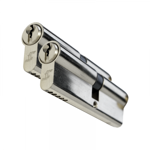 TL Specification Anti Drill cylinder - 50/50 (100mm) - Nickel  Keyed alike in Pairs (2 cylinders)